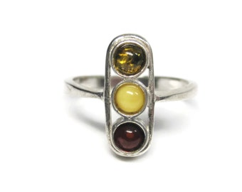 Vintage Sterling Amber Ring Size 8.5 Cherry Honey Egg Yolk