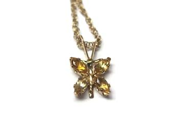 Tiny Vintage 10K Citrine Butterfly Pendant Necklace