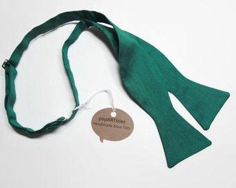 Freestyle Emerald Green Silk Bow Tie - Green Bow Tie - Kelly Green Bow Tie - Self-Tie Bow Tie - Emerald Bow Tie - Thai Silk Bow Tie