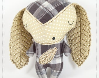 woodland stuffed toy for kids, gray and brown baby eco toy Sleepy Ouriço