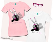 Peace & Love Afro Pick Women's Fitted T-Shirt