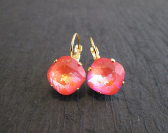 Ultra Orange Swarovski Earrings/Swarovski Bridesmaid Earrings/ Neon Swarovski Earrings/Orange Crystal Leverback Earrings/Neon Orange