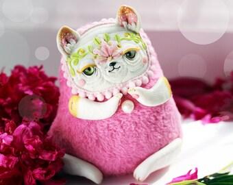 Ooak Doll Cat Art Toy Ooak Cat Miniature Art pink Doll Cat Pink Toy Animal Ooak Doll Cute