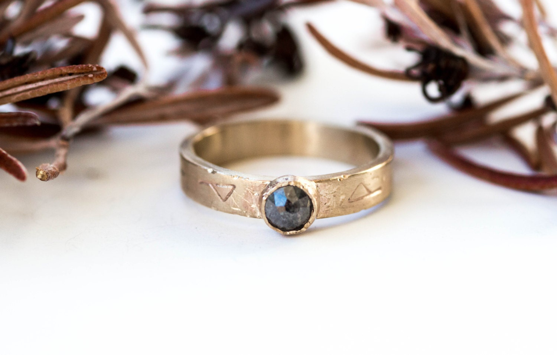 14k Yellow Gold Rose Cut Diamond Engagement Ring, Grey Diamond Viking Engagement  Ring, Rustic Norse Diamond Ring