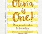 sunshine yellow first birthday invitation for girl, yellow stripes gold glitter confetti 1st birthday party, printable digital invitation