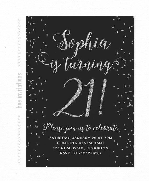 21st Birthday Invitation Silver And Black Silver Glitter