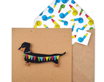 Personalised Handmade Birthday Dachshund Greeting Card - Brown Recycled Square Card - Unique Printed Envelope & Seal - Cute Greetings Card