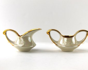 Lovely Pearl China Sugar and Creamer Set, Gold Rim, Pearlized, 22K Gold Lusterware, 1940s