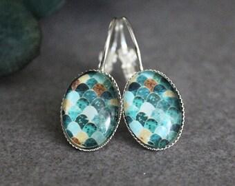 Green Earrings, Green Drop Earrings, Green Dangle Earrings, Geometric Earrings, Turquoise Earrings, Teal Earrings, Blue Drop Earrings