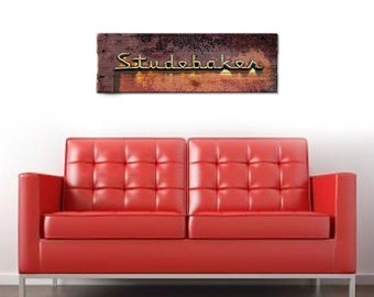 """Studebaker Car Wall Art on Solid Wood Boards - 32"""" x 11"""" Automobile Decor Old Rusted"""