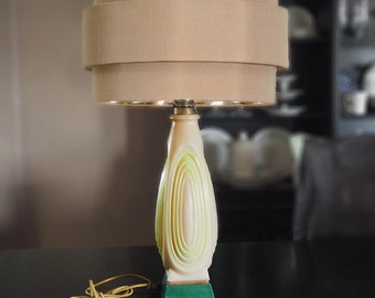 Vintage Art Deco Glass Lamp | Pink Yellow and Green with Gold Accents | 1930s - 1940s