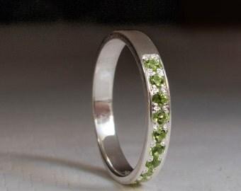 Half Eternity White Gold Ring with Green Peridot - Green gemstone ring - August birthstone - August birthday - 14 Karat White Gold
