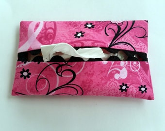 Pink Ribbon Butterfly Tissue Holder, Pink Ribbon Napkin Holder, Pink Ribbon Butterfly Facial Tissue Holder