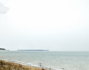 Beach wall art print, Blue waters, sandy beach and cloudy sky, home or office decor, Lakefront view, panoramic and standard picture sizes