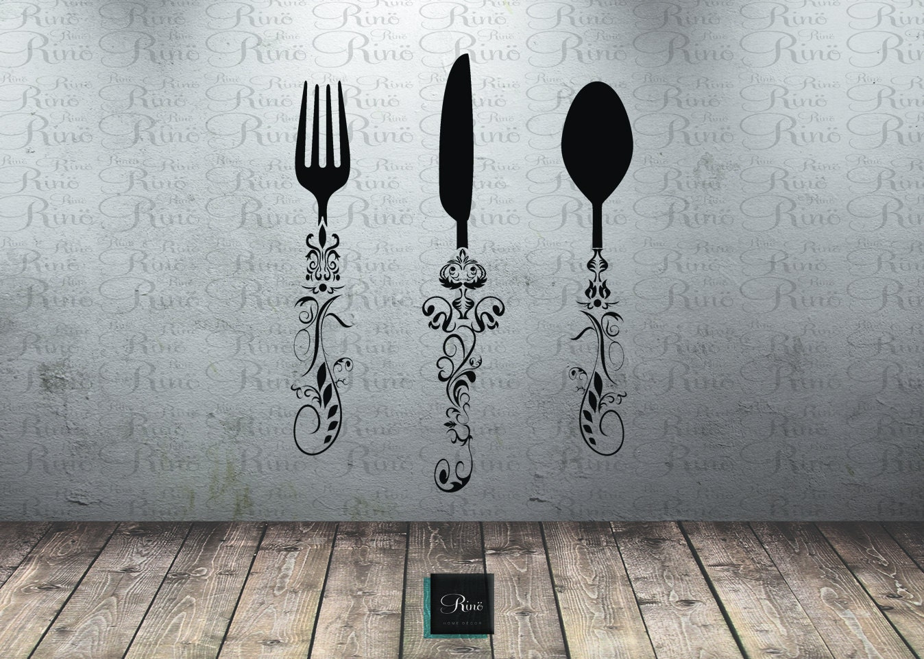 Utensil Decals (5ft) Kitchen Wall Decal   Knife Spoon Fork Wall Decal   Dining  Room Large Wall Art Decal Vinyl Sticker Kitchen Decor