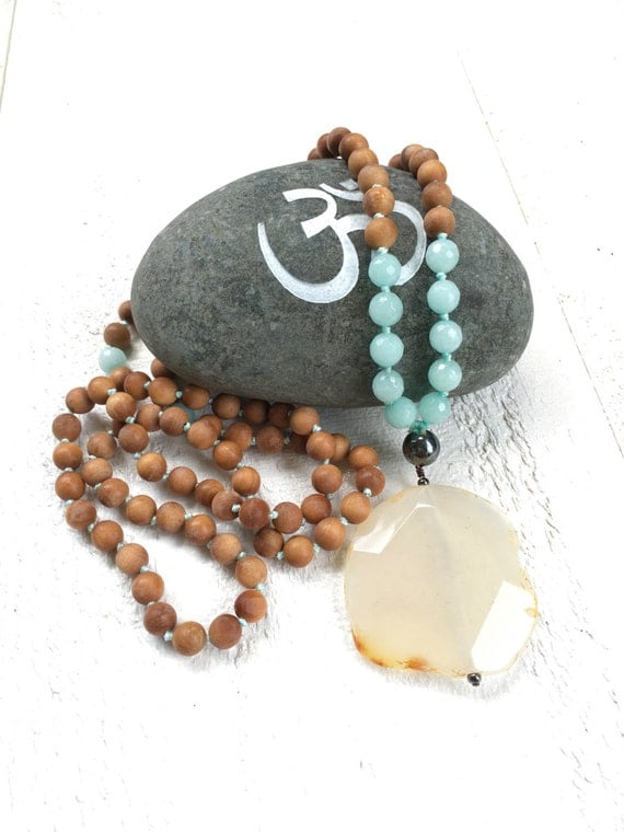 Knotted Sandalwood Mala Beads, Yellow Agate and Amazonite Mala Necklace, Sunshine Mala Beads, Fragrant Sandalwood Mala, 108 Bead Mala