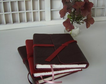 Hand-bound notebook red leather note book bound in leather-hand-bound book write-red leather checkbook cover