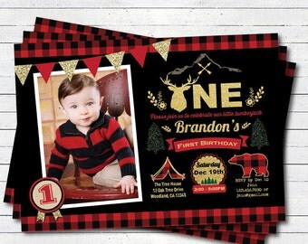 Lumberjack first birthday invitation. Camping 1st birthday party invitation. Buffalo red plaid black and gold photo digital Invite KB196