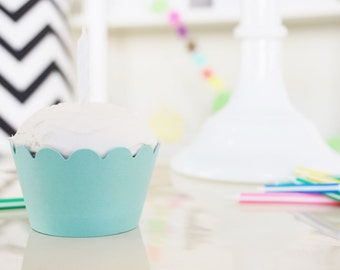 LIGHT TURQUOISE Cupcake Wrappers - Set of 24
