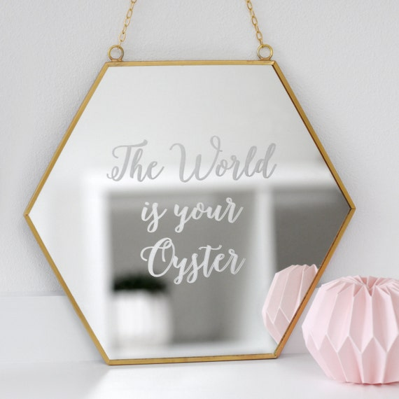 Hexagon Mirror, Personalized Home Gift, Travel Quote Gift, Geometric Homeware, New Home Housewarming Gift, Personalised Hexagon Mirror