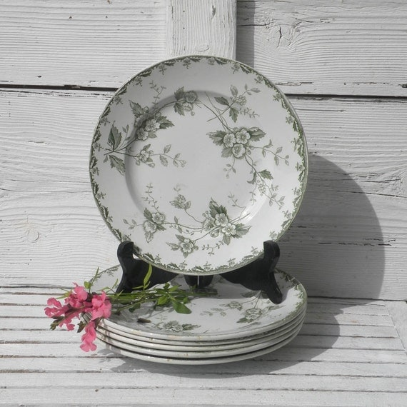 Set of 6 ironstone transferware plates - vintage dessert plates - green transferware - country home - shabby chic - antique plates