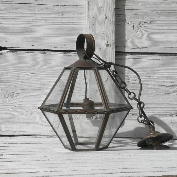 Small French vintage lantern, hanging lantern, French lighting, rustic lantern, shabby chic lantern, cottage chic lantern, small lantern