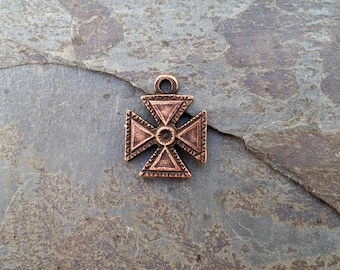 Copper Patee Cross Charm N15,copper patee charm,medieval cross,copper cross pattee,copper cross,ancient cross,royal cross charm,