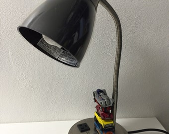 Upcycled desk lamp with pre-owned hot-wheels/matchbox cars