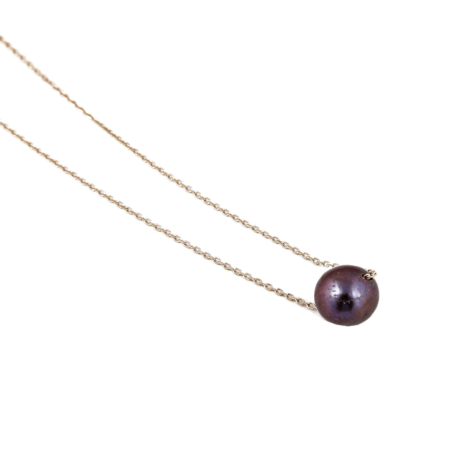 Gold Pearl Necklace, Thin Choker Pearl, Single Pearl Necklace, Floating  Necklace, Single Black Pearl, Solid Gold 14k