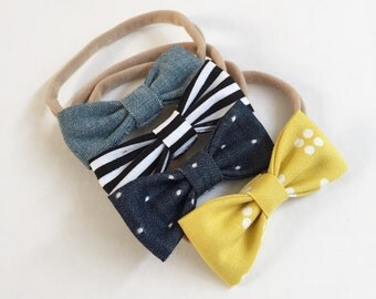 Hipster Chic SMALL Girls Hair Bows - Set of Four (4) // Girls Hair Bows - Includes All Four Pictured. Fits Newborn & Toddlers