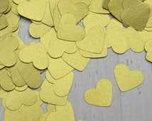 500 Gold Heart Confetti - Golden Paper Hearts - Shimmery Gold Confetti - Gold Wedding Table Scatter