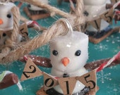 S'more snowman holiday ornament. Hand sculpted from clay, little snowman created from miniature fake s'mores fixins. Merry Christmas!!