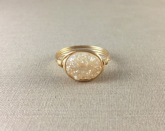 Peach Druzy Ring // oval druzy ring, delicate ring, gemstone ring, drusy ring, jewelry under 25, peach ring, sterling silver ring, gold ring