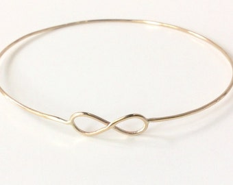 14K Gold Infinity Bracelet - Solid Gold Infinity Bangle - Hallmarked 14K