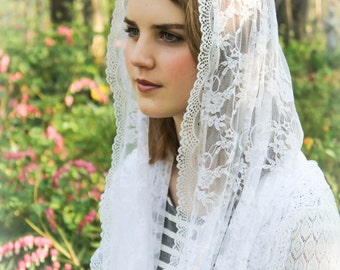 Infinity Chapel Veil Mantilla Infinity Veil Latin Mass Lace:In White or Black