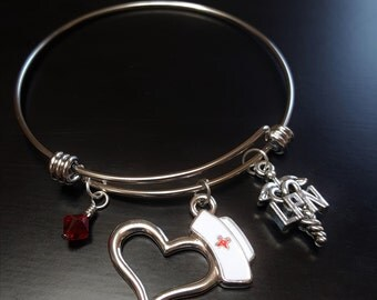 LPN Bangle Bracelet-Swarovski Crystal and LPN Charms-Great Gift Ideas