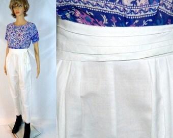 Linen 80's FEELIN' JAZZIE White Pants Vintage High Pleated Waist Trousers Slacks Cotton Happy Legs Chic Boho Modern Minimalist Pant Belt Tie