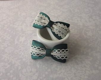 Hunter Green Satin & Off-White Ivory Lace Bow, Hair Accessory, Barrette, Ponytail, Clip, Toddler, Little Girl, School Uniform, Photos