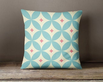 Decorative pillow cover with blue flowers, geometric Pillow cover,gift for her,nursery,throw pillow,throw pillow,kid, bedding, home décor