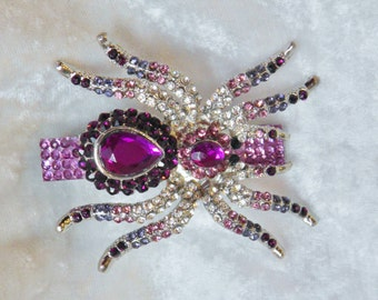 Purple Spider Hair Clip covered in Genuine Swarovski Crystals