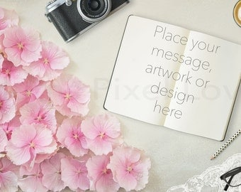 desktop flatlay mockup, Styled Stock Photography mock-up, Overlay text, notebook, Blog image, photography, digital, hydrangea, feminine