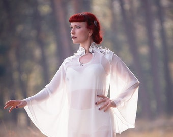 "Chiffon blouse ""Papillon"" /// white high-fashion avantgarde fairytale couture blouse with silk butterflies."