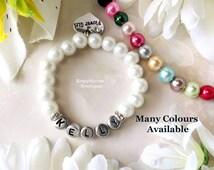 Baby Bracelet-Flower Girl Bracelet-Personalized Bracelet-Girl Bracelet-Name Bracelet-Christening Gift-Glass Pearl Name Bracelet