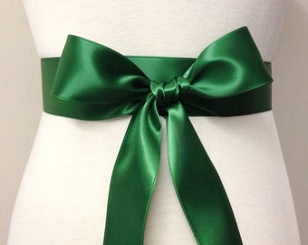 1.5 Inch Plain Sash-Emerald Green Sash-Bridal Sash-Bride Sash-Bridesmaid Sash-Wedding Sash Belt-Double Sided Ribbon Satin Sash
