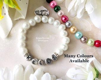 Personalized Bracelet-Flower Girl Bracelet-Baby Girl Bracelet-Name Bracelet-Flower Girl Gift-Christening Gift-Glass Pearl Name Bracelet