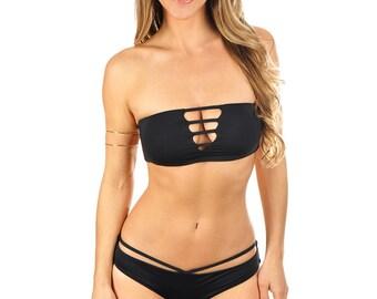 Hannah Bandeau Bikini Top - Black
