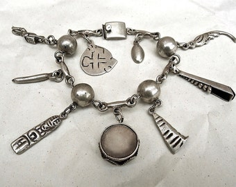 Vintage Mexican Sterling Charm Bracelet By Platería FarFan in Mexico City