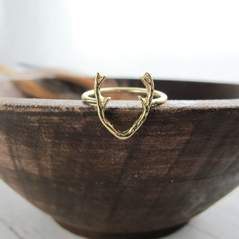 gold antler ring deer antler ring trendy antler by