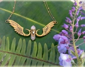Angelic Avatarian Spell.. Brass necklace, Rose Quartz Crystal and Pearl.