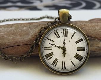 Clock art pendant . Vintage Clock jewelry . Old clock face necklace (clock#3)
